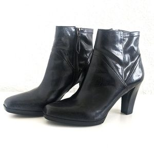 Franco Sarto Black Vegan Leather Booties
